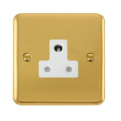 Curved Polished Brass 5A Round Pin Socket - White Trim - White Trim