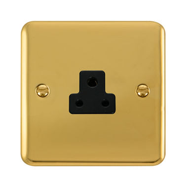 Curved Polished Brass 2A Round Pin Socket - Black Trim Trim- Black Trim