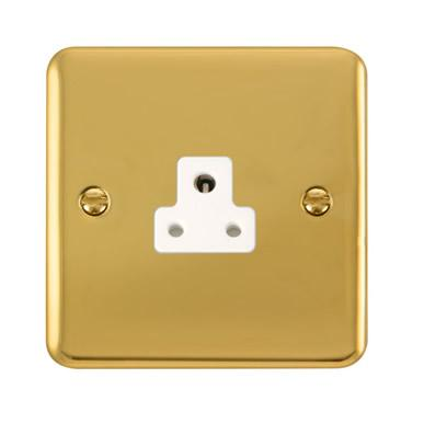 Curved Polished Brass 2A Round Pin Socket - White Trim - White Trim