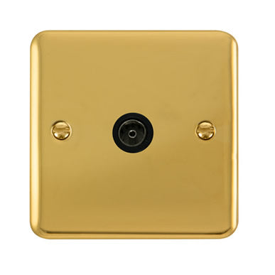 Curved Polished Brass Single Coaxial Outlet - Black Trim Trim- Black Trim