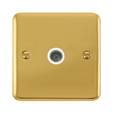 Curved Polished Brass Single Coaxial Outlet - White Trim - White Trim