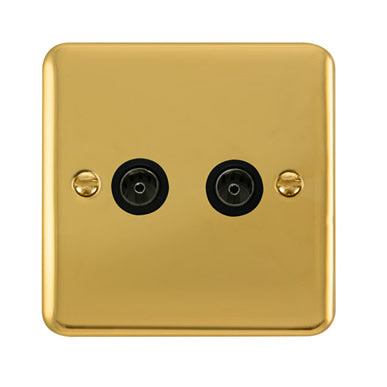 Curved Polished Brass Twin Coaxial Outlet - Black Trim Trim- Black Trim