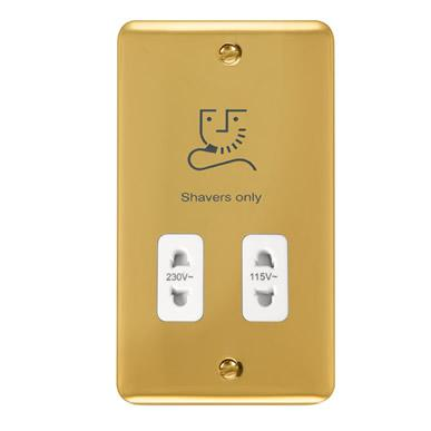Curved Polished Brass 115/230V Dual Voltage Shaver Socket - White Trim - White Trim