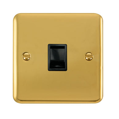 Curved Polished Brass Single RJ11 (Irish/US) Outlet - Black Trim Trim- Black Trim