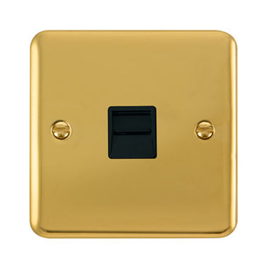 Curved Polished Brass Single Telephone Outlet - Secondary - Black Trim Trim- Black Trim