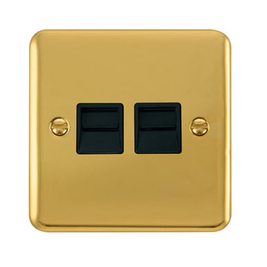 Curved Polished Brass Twin Telephone Outlet - Secondary - Black Trim Trim- Black Trim