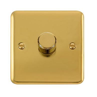 Curved Polished Brass 1 Gang 2 Way 400Va Dimmer Switch - Black Trim