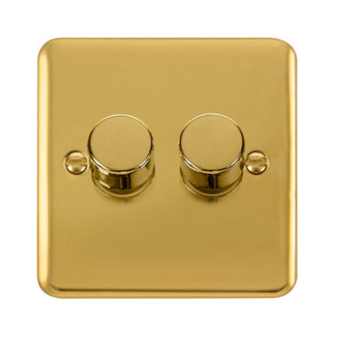 Curved Polished Brass 2 Gang 2 Way 400Va Dimmer Switch - Black Trim