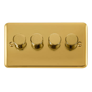 Curved Polished Brass 4 Gang 2 Way 400Va Dimmer Switch - Black Trim