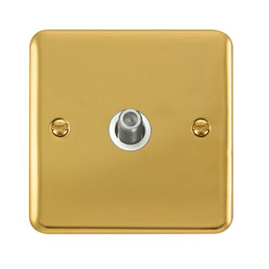 Curved Polished Brass Non-Isolated Single Satellite Outlet - White Trim - White Trim