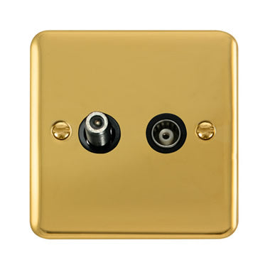 Curved Polished Brass Isolated Satellite & Isolated Coaxial Outlet - Black Trim Trim- Black Trim