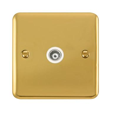 Curved Polished Brass Single Isolated Coaxial Outlet - White Trim - White Trim
