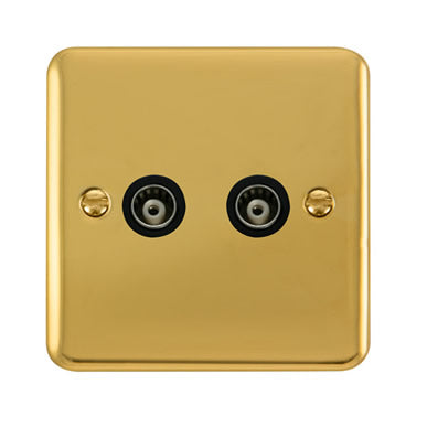 Curved Polished Brass Twin Isolated Coaxial Outlet - Black Trim Trim- Black Trim