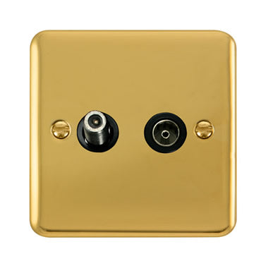 Curved Polished Brass Non-Isolated Satellite & Non-Isolated Coaxial Outlet - Black Trim Trim- Black Trim