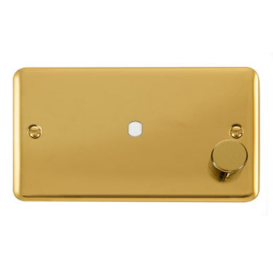 Curved Polished Brass 2 Gang Unfurnished Dimmer Plate & Knob (630W or 1000W) - 1 Aperture - Black Trim