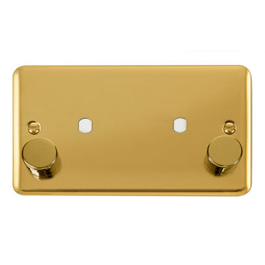 Curved Polished Brass 2 Gang Unfurnished Dimmer Plate & Knobs (1630W Max) - 2 Apertures - Black Trim