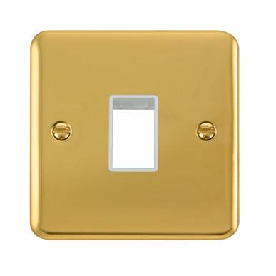 Curved Polished Brass 1 Gang MiniGrid® Unfurnished Plate - 1 Aperture - White Trim - White Trim