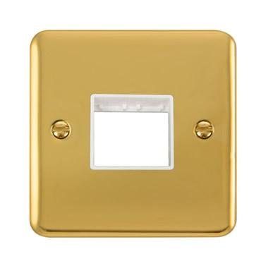 Curved Polished Brass 1 Gang MiniGrid® Unfurnished Plate - 2 Apertures - White Trim - White Trim