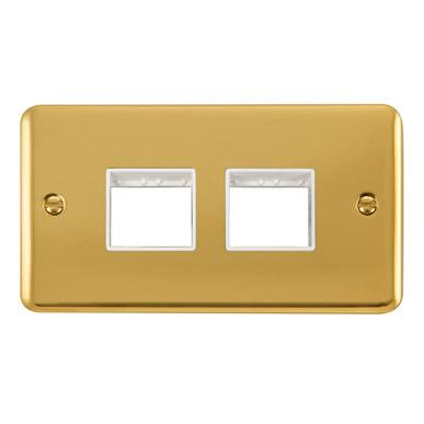 Curved Polished Brass 2 Gang MiniGrid® Unfurnished Plate - 2 x 2 Apertures - White Trim - White Trim
