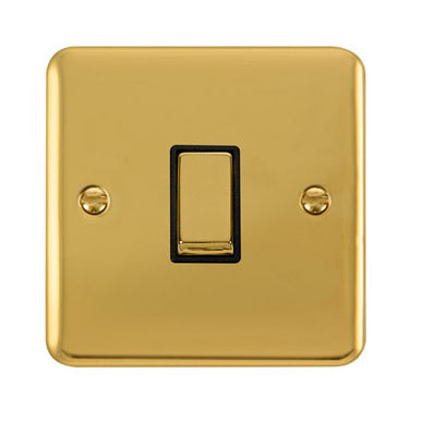 Curved Polished Brass 10AX Ingot 1 Gang 2 Way Plate Switch - Black Trim Trim- Black Trim