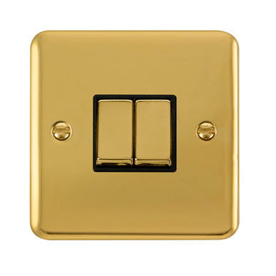 Curved Polished Brass 10AX Ingot 2 Gang 2 Way Plate Switch - Black Trim Trim- Black Trim