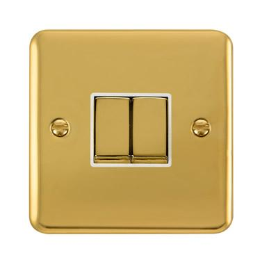 Curved Polished Brass 10AX Ingot 2 Gang 2 Way Plate Switch - White Trim - White Trim
