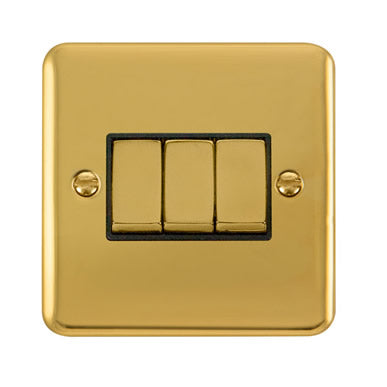 Curved Polished Brass 10AX Ingot 3 Gang 2 Way Plate Switch - Black Trim Trim- Black Trim