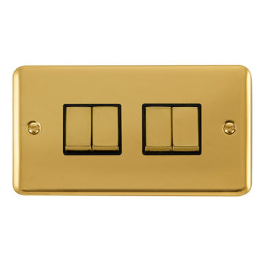 Curved Polished Brass 10AX Ingot 4 Gang 2 Way Plate Switch - Black Trim Trim- Black Trim