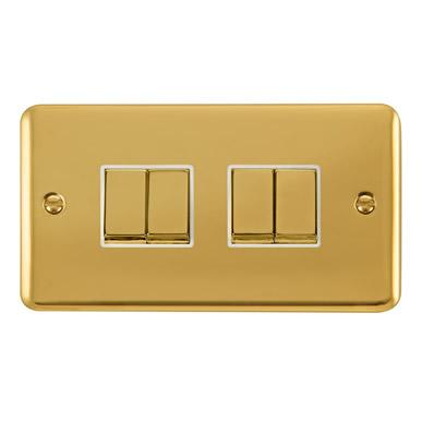 Curved Polished Brass 10AX Ingot 4 Gang 2 Way Plate Switch - White Trim - White Trim