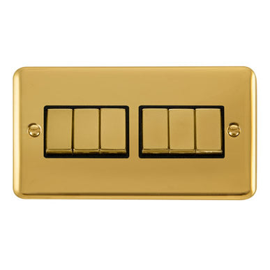 Curved Polished Brass 10AX Ingot 6 Gang 2 Way Plate Switch - Black Trim Trim- Black Trim