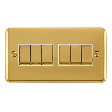 Curved Polished Brass 10AX Ingot 6 Gang 2 Way Plate Switch - White Trim - White Trim