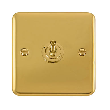 Curved Polished Brass 10AX 1 Gang 2 Way Toggle Switch - Black Trim