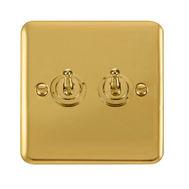 Curved Polished Brass 10AX 2 Gang 2 Way Toggle Switch - Black Trim