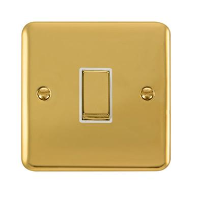 Curved Polished Brass 10AX Ingot 1 Gang Intermediate Plate Switch - White Trim - White Trim