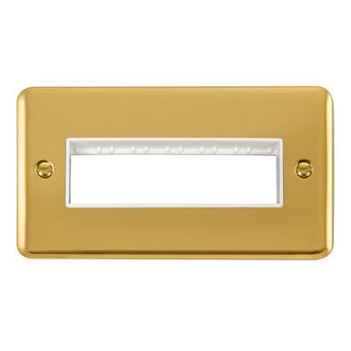Curved Polished Brass 2 Gang MiniGrid® Unfurnished Plate - 6 In-Line  Apertures - White Trim - White Trim