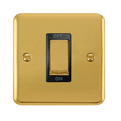 Curved Polished Brass 45A Ingot 1 Gang DP Switch - Black Trim Trim- Black Trim