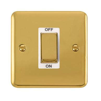 Curved Polished Brass 45A Ingot 1 Gang DP Switch - White Trim - White Trim