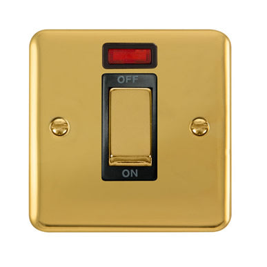 Curved Polished Brass 45A Ingot 1 Gang DP Switch With Neon - Black Trim Trim- Black Trim