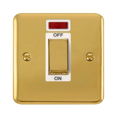 Curved Polished Brass 45A Ingot 1 Gang DP Switch With Neon - White Trim - White Trim