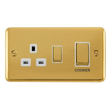 Curved Polished Brass 45A Ingot 2 Gang DP Switch With 13A DP Switched Socket - White Trim - White Trim