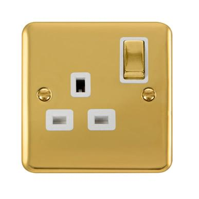 Curved Polished Brass 13A Ingot 1 Gang DP Switched Socket - White Trim - White Trim