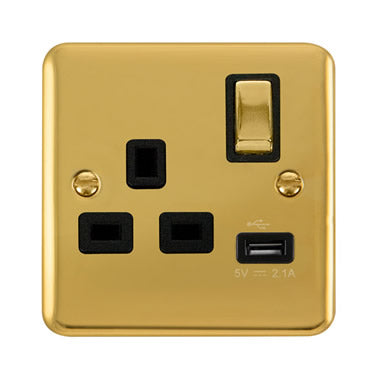 Curved Polished Brass 13A Ingot 1 Gang Switched Socket With 2.1A USB Outlet - Black Trim Trim- Black Trim