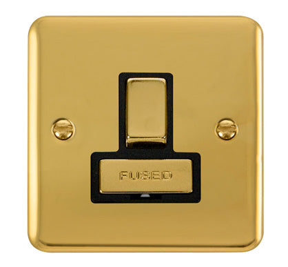 Curved Polished Brass 13A Fused Ingot Connection Unit Switched - Black Trim