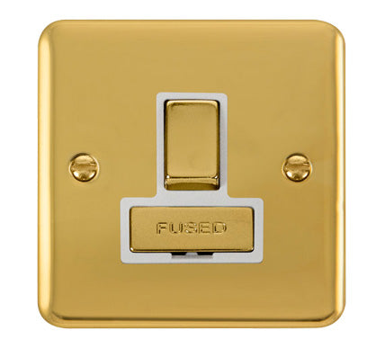 Curved Polished Brass 13A Fused Ingot Connection Unit Switched - White Trim