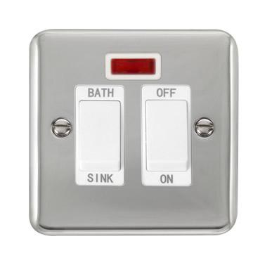 Curved Polished Chrome 20A DP Sink/Bath Switch With Neon - White Trim - White Trim