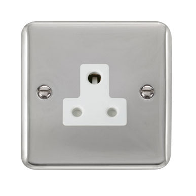 Curved Polished Chrome 5A Round Pin Socket - White - White