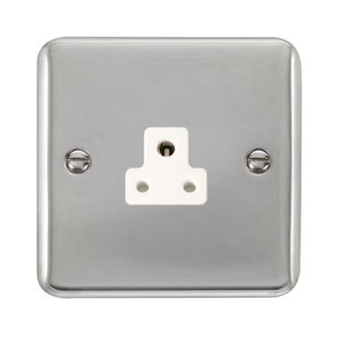 Curved Polished Chrome 2A Round Pin Socket - White Trim - White Trim