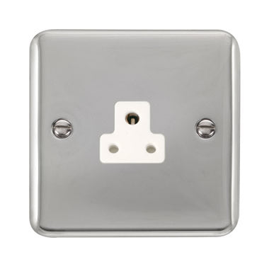 Curved Polished Chrome 2A Round Pin Socket - White - White