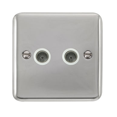 Curved Polished Chrome Twin Coaxial Outlet - White - White