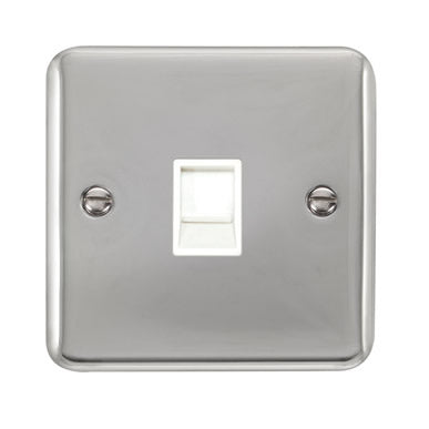Curved Polished Chrome Single RJ11 (Irish/US) Outlet - White - White